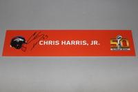 NFL - BRONCOS CHRIS HARRIS JR. SIGNED SB50 LOCKER ROOM SIGN