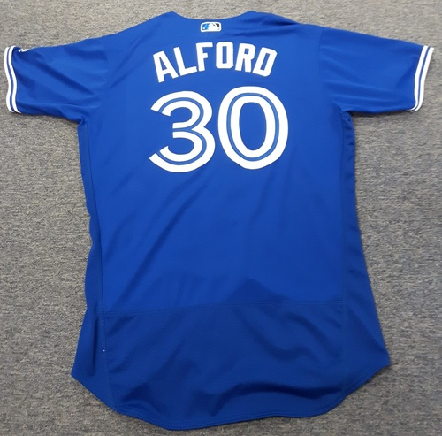 Photo of Authenticated Game Used Jersey - #30 Anthony Alford. May 21, 2017: 0-for-3 (Rookie Season). Size 46.