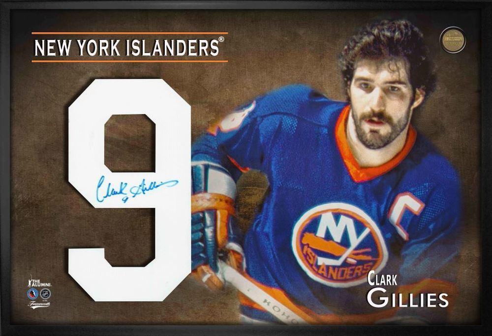 Clark Gillies Signed Jersey Number Framed Print Islanders Blue