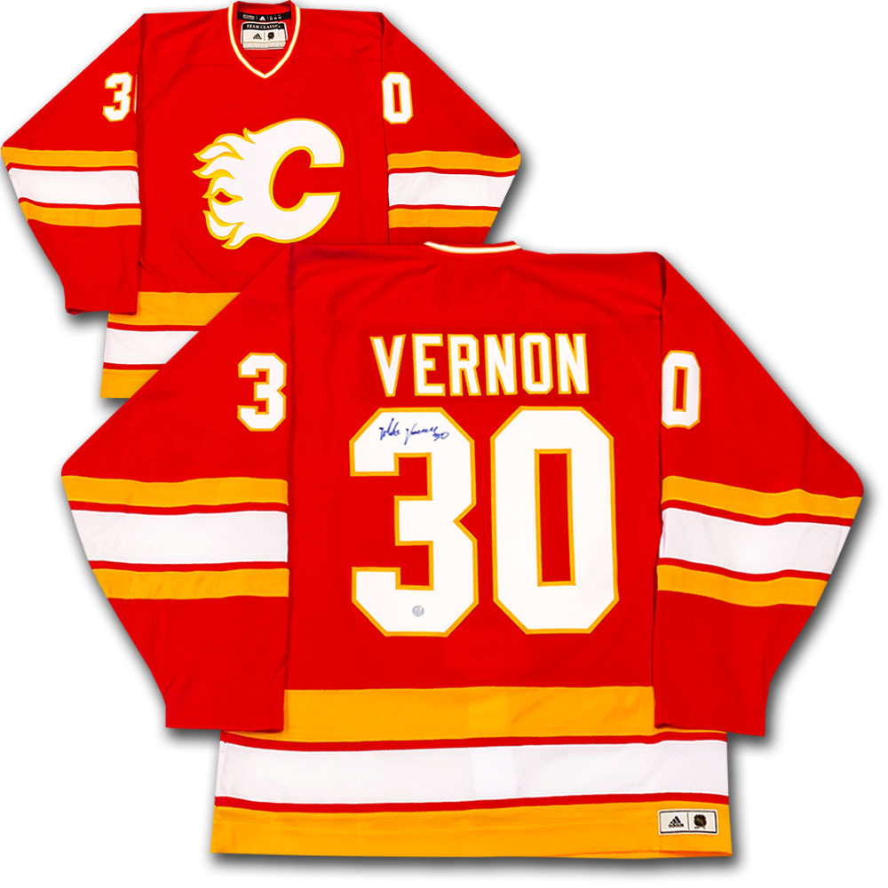 Mike Vernon Autographed Calgary Flames adidas Team Classics Authentic Vintage Jersey