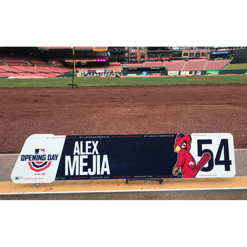 Photo of Cardinals Authentics: Team-Issued Alex Mejia 2018 Opening Day Locker Tag