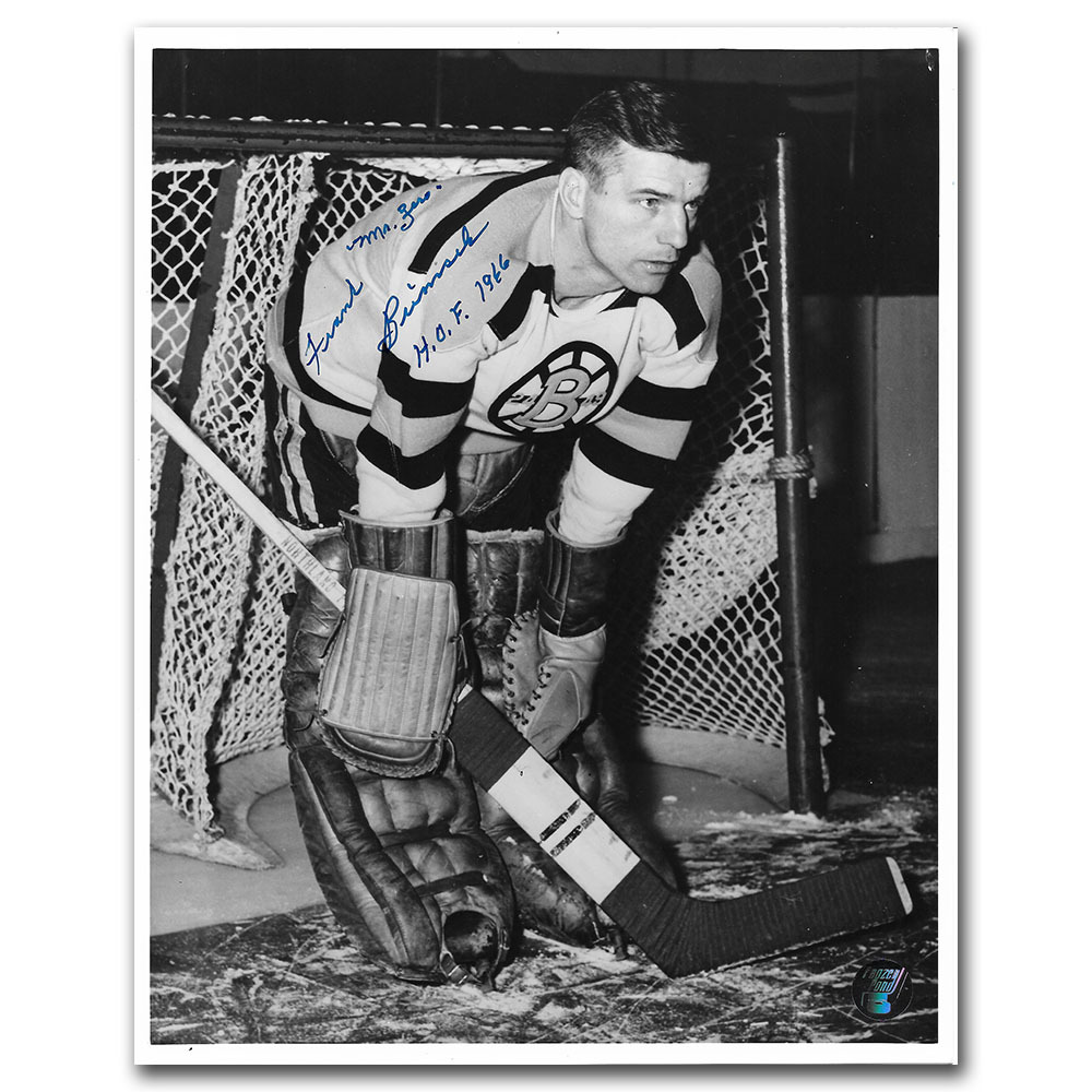 Frank Brimsek (deceased) Autographed Boston Bruins 8X10 Photo w/MR ZERO & HOF 1966 Inscription