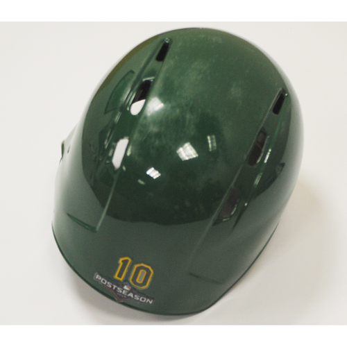 Photo of Marcus Semien Game-Used 2019 Kelly Green Regular Season and AL Wild Card Game Helmet