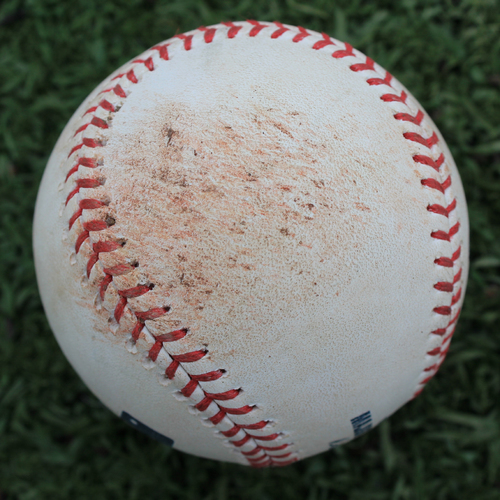 Photo of Game-Used Baseball: Jorge Lopez Pitched Strikeout to D.J. Stewart (BAL @ KC - 8/31/19)