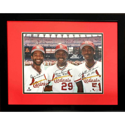 Photo of Cardinals Authentics: Ozzie Smith, Willie McGee, and Vince Coleman Autographed and Inscribed Photo