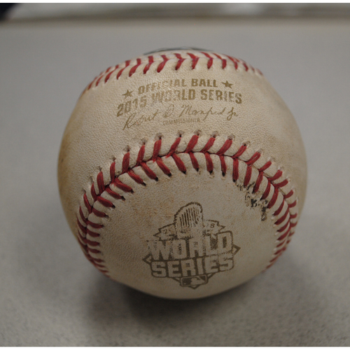 Photo of Game-Used Baseball - 2015 World Series - Kansas City Royals at New York Mets - Batter - Alex Gordon, Pitcher - Steven Matz, Top of 2, Foul Tip - Game 4 - 10/31/2015