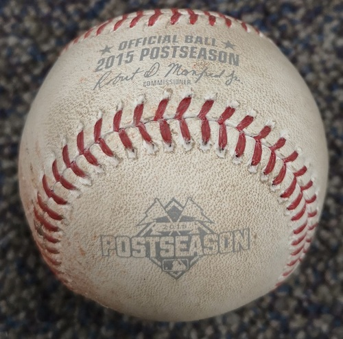Photo of Authenticated Game Used Postseason Baseball - Foul by Shin Soo Choo against Marcus Stroman (ALDS Game 2: Oct 9, 15 vs TEX). Top 1.