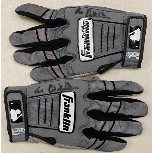Photo of 2020 Black Friday Sale - #12 Alex Dickerson Team Issued Autographed Gray Franklin Batting Gloves