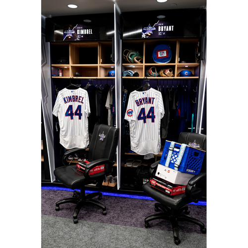 Photo of 2021 All-Star Game Clubhouse Chair Panel from Kris Bryant's Locker Chair