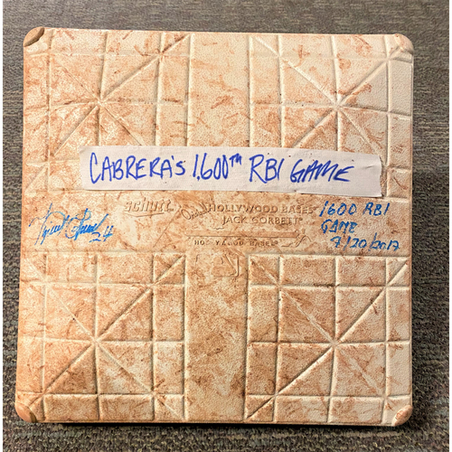 Photo of Cabrera Exclusive! Miguel Cabrera Autographed Game-Used Base with 1600 RBI Game Inscription (MLB AUTHENTICATED)
