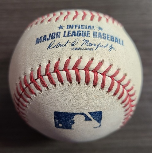 Photo of Authenticated Game Used Baseball: Double by Andrew Benintendi against Jose Berrios (Aug 1, 2021 vs KCR). Top 6.