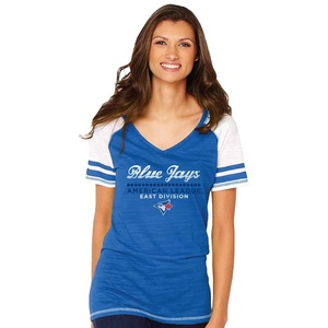 Toronto Blue Jays Women's Colourblock V-Neck Raglan T-Shirt by Soft As A Grape