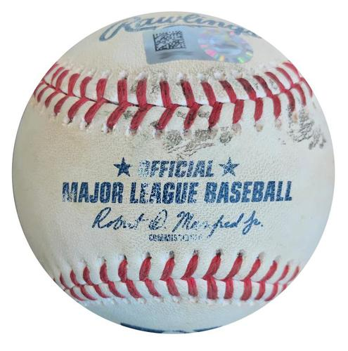 Photo of Game-Used Baseball from Pirates vs. Cubs on 5/29/18 - Zobrist Fly Out, Schwarber Ground Out, Bryant Single, Rizzo Double
