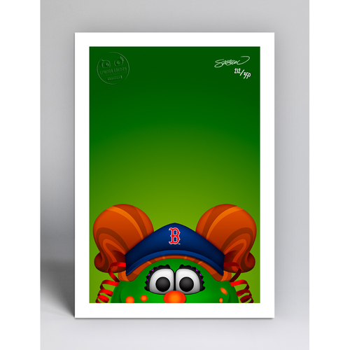Photo of Tessie the Green Monster - Limited Edition Minimalist Mascot Art Print by S. Preston  - Boston Red Sox