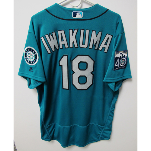 Photo of Seattle Mariners Hisashi Iwakuma Team-Issued Green Jersey - 9/23/17 vs. CLE
