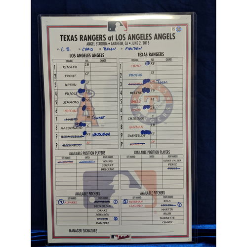 Photo of Game Used Lineup Card - Rangers vs. Angels - 6/2/18 (Trout HR Game)