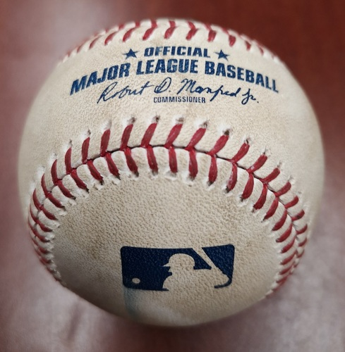 Photo of Authenticated Game Used Baseball - Foul by Vladimir Guerrero Jr. against Martin Perez (May 6, 2019 vs MIN). Bottom 7. Career Game #9.
