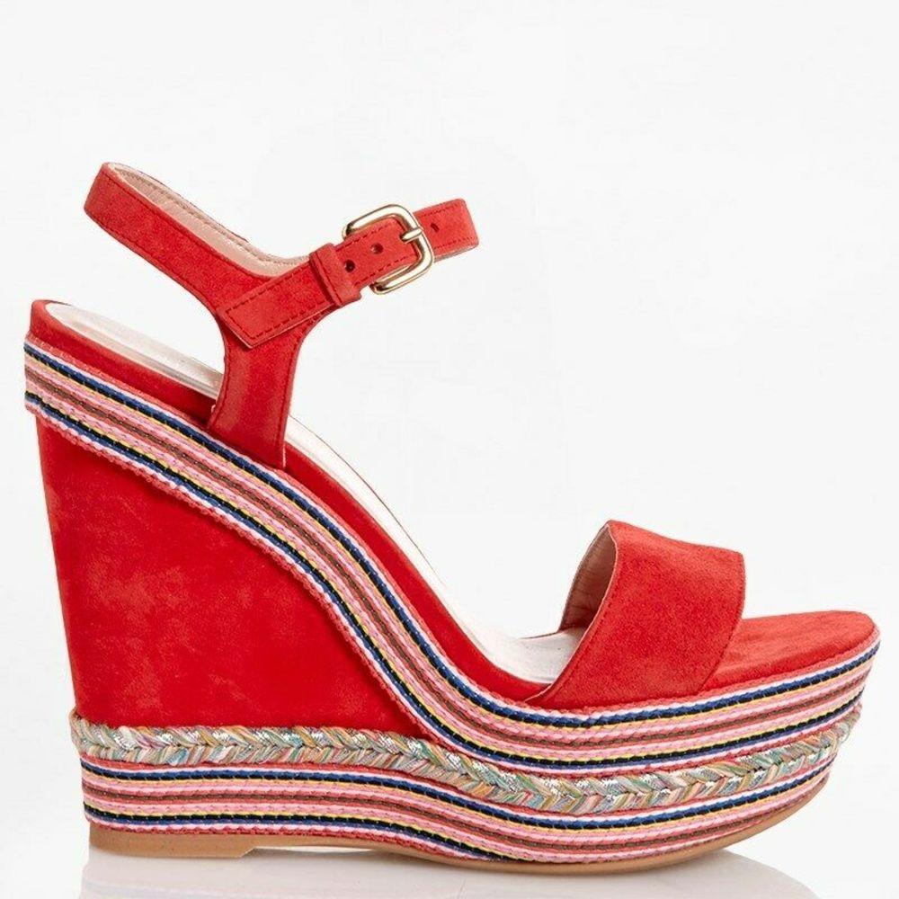 Photo of Stuart Weitzman Red Suede Platform Espadrille Sandals