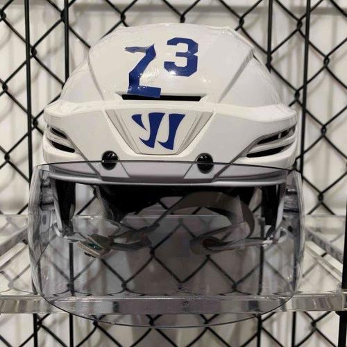 #23 Travis Dermott Worn White Warrior Helmet