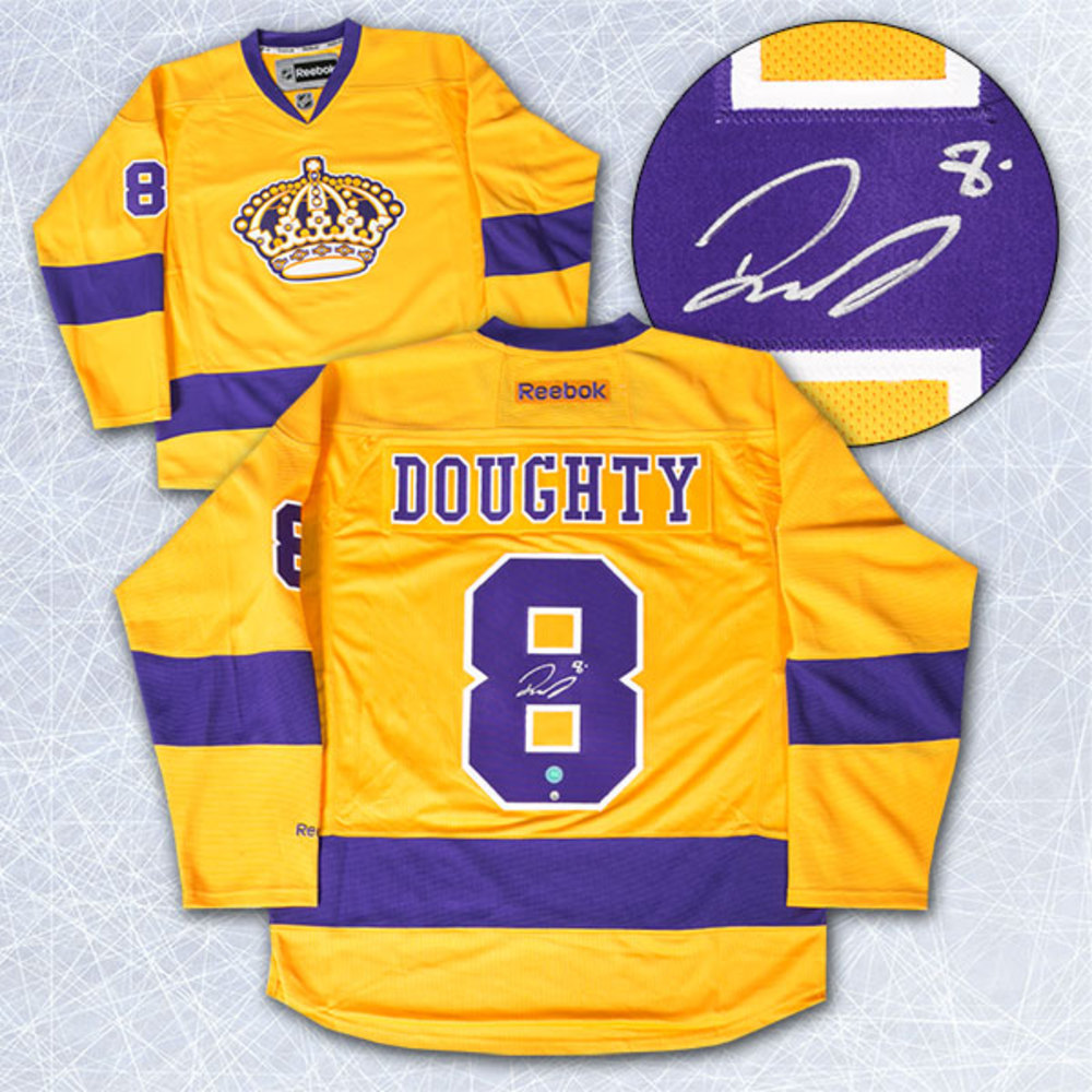 new style 93d6e 86fc5 Drew Doughty Los Angeles Kings Autographed Yellow Purple ...