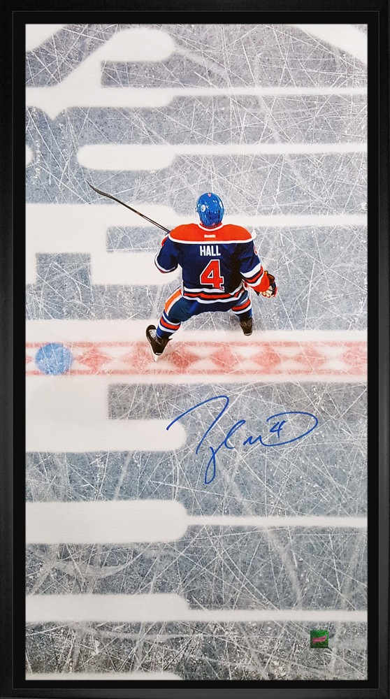 Hall - Signed 14x28 Oilers Overhead Framed Canvas