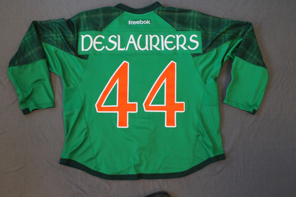 b37d94f8b8e ... spain nic deslauriers pre game worn buffalo sabres st. patricks day  jersey 2c20c b78c8