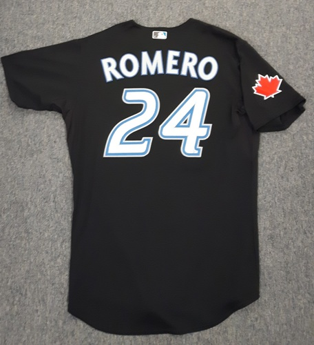 Photo of Authenticated Game Used Jersey - #24 Ricky Romero (May 9, 2011). Size 48