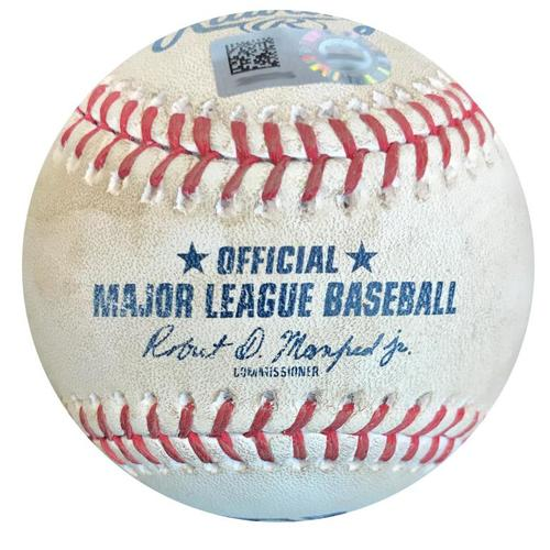 Photo of Game-Used Baseball from Pirates vs. Cubs on 5/29/18 - Willson Contreras Hit by Pitch