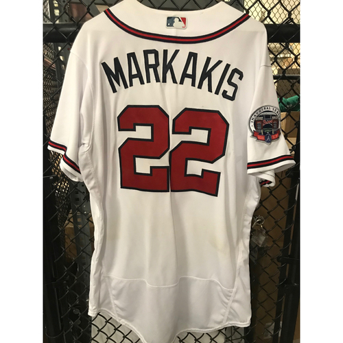 Photo of Nick Markakis Game-Used Los Bravos Jersey - Unwashed  - 9/17/17