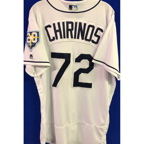 20th Anniversary Game Used Home White Jersey: Yonny Chirinos - Second Career MLB Win (W, 5.0IP, 4 SO) - August 22, 2018 v KC