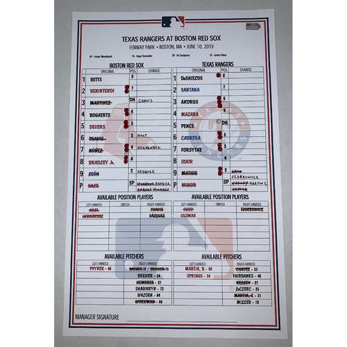 Photo of Texas Rangers vs Boston Red Sox June 10, 2019 Game Used Lineup Card - Rangers Win 4 to 3