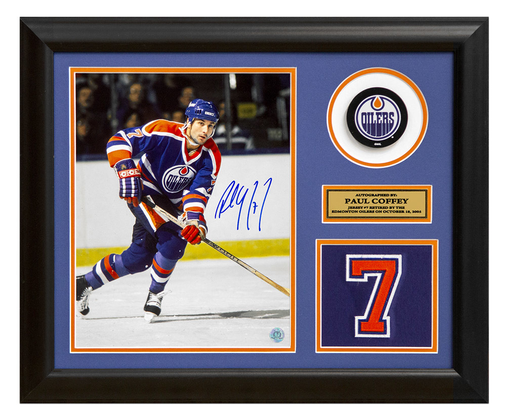 Paul Coffey Edmonton Oilers Signed Retired Jersey Number 23x19 Frame