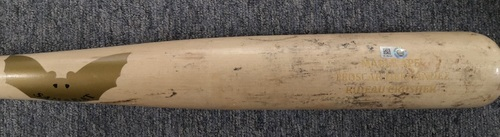 Photo of Authenticated Game Used Cracked Bat: Vladimir Guerrero Jr. Grounds into Force Out against Ryan Brasier (Sept 10, 19 vs BOS). Bottom 6. Teoscar Hernandez name on bat.