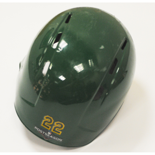 Photo of Ramon Laureano Game-Used 2019 Kelly Green Regular Season and AL Wild Card Game Helmet