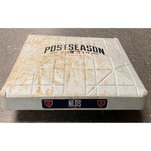 Photo of 2014 NLDS Game 3 Game Used 3rd Base used on 10/6 vs. Washington Nationals in Innings 7 through 9 - Bryce Harper Hits a HR in the Top of the 9th Inning