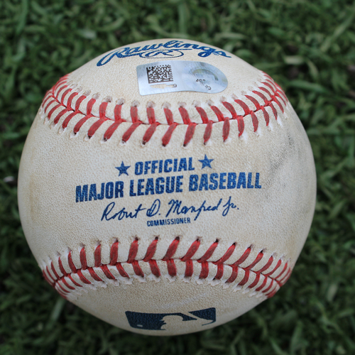 Photo of Game-Used Baseball: Jake Newberry Pitched Strikeout to Gordon Beckham (DET @ KC - 7/14/19)