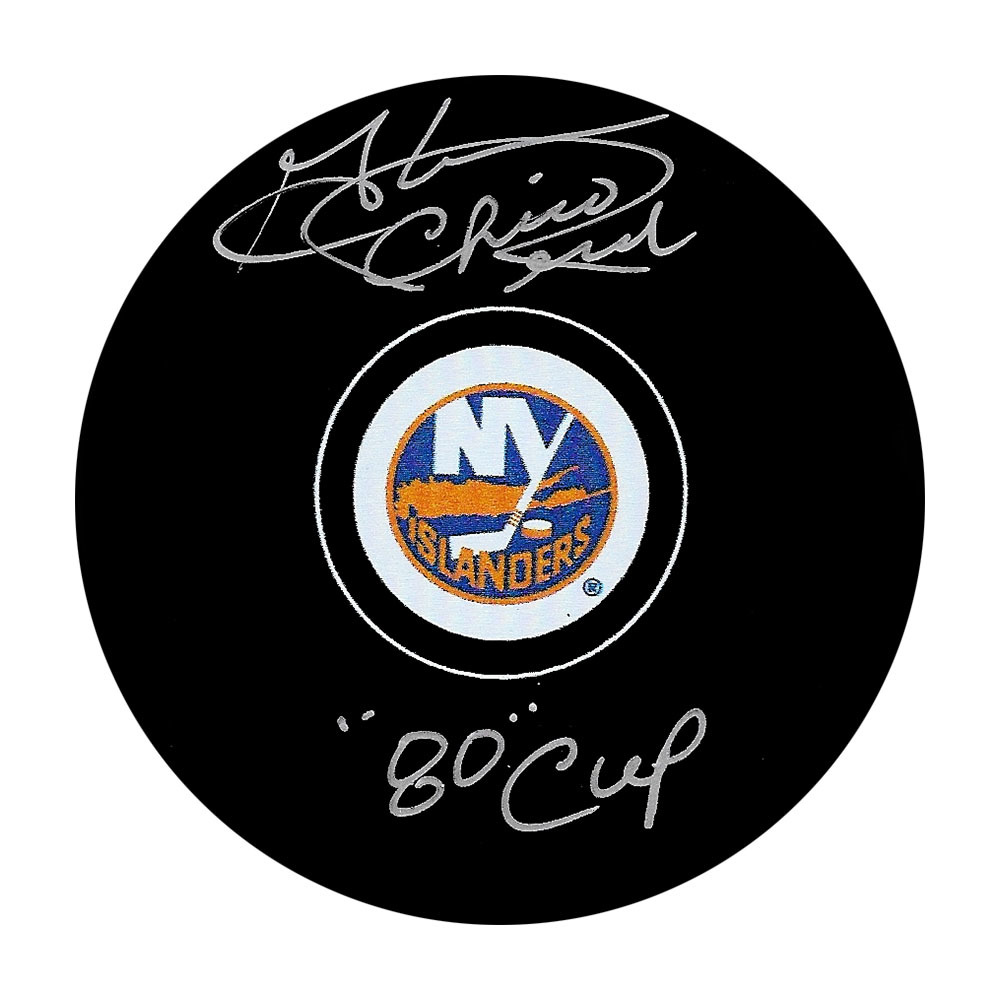 Chico Resch Autographed New York Islanders Puck w/80 CUP Inscription