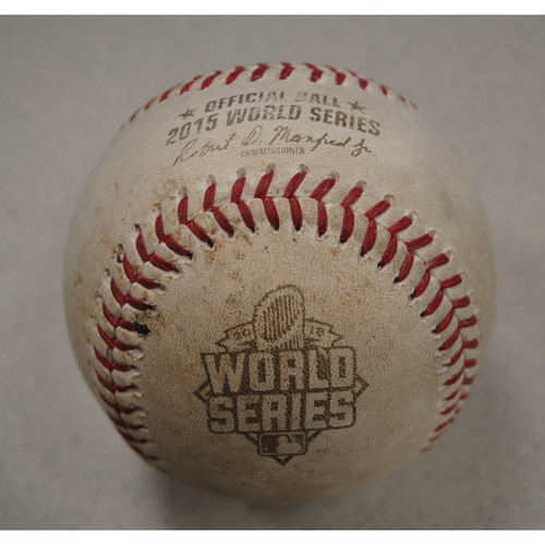Photo of Game-Used Baseball - 2015 World Series - Kansas City Royals at New York Mets - Batter - Paulo Orlando, Pitcher - Jeurys Familia, Top of 10, Ground Out - Game 5 - 11/1/2015
