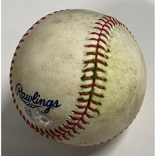 Photo of Game-Used Baseball - 9/24/2020 - White Sox at Indians - Jose Ramirez Double