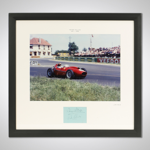 Photo of Peter Collins 1958 Ferrari Framed Signed Photograph