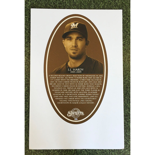 Photo of J.J. Hardy Brewers Wall of Honor Team-Issued Induction Sign (LOCAL PICKUP ONLY)