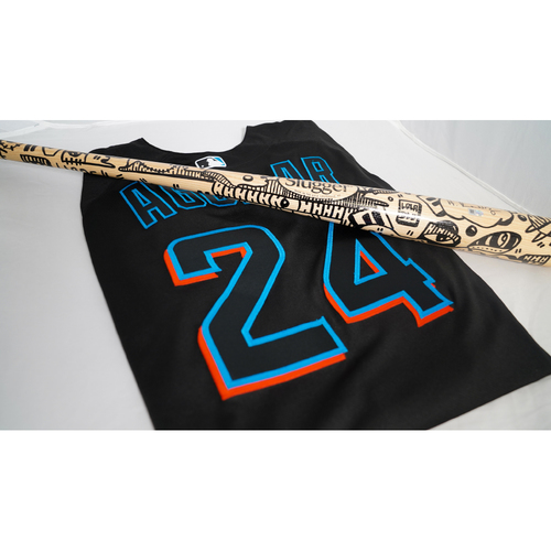 """Photo of Jesus Aguilar Team-Issued Jersey with Specialty """"Hope"""" Bat Designed by Lola Blu - @lolablu_ - Jersey Size 48"""