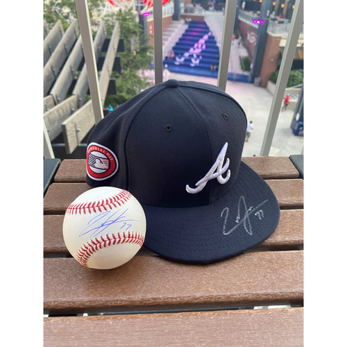 Photo of Luke Jackson MLB Authenticated Autographed Memorial Day Style Hat and Ball Combo