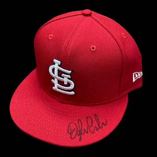 Photo of Dylan Carlson Autographed Team Issued Home Cap (Size 7 3/4)