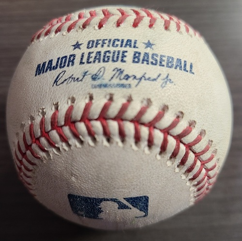 Photo of Authenticated Game Used Baseball: Double by Amed Rosario against Robbie Ray (Aug 2, 2021 vs CLE). Top 1.
