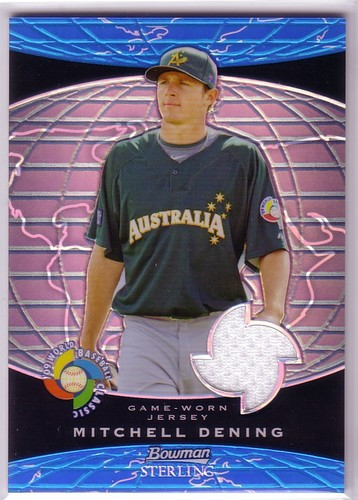 Photo of 2009 Bowman Sterling WBC Relics Blue Refractors #MD Mitchell Dening
