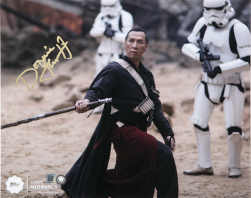 Donnie Yen as Chirrut Îmwe at the Fight in Jedha Autographed in Gold Ink 8x10 Photo