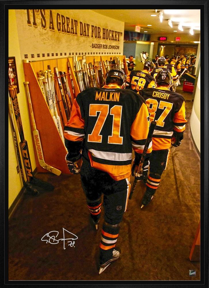 Malkin - SIgned 20x29 Peguins Hallway Framed Canvas