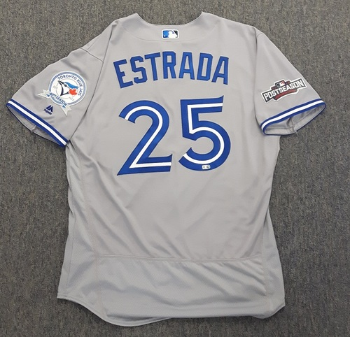 Photo of Authenticated Team Issued Jersey - #25 Marco Estrada (2016 Postseason). Size 46.