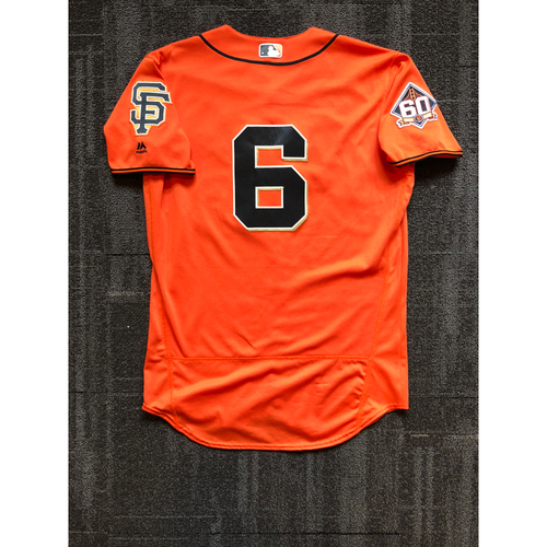 Photo of 2018 San Francisco Giants - Orange Friday Home Alternate Game Used Jersey worn by #6 Steven Duggar on 7/13/18 vs. Oakland Athletics - Size 44
